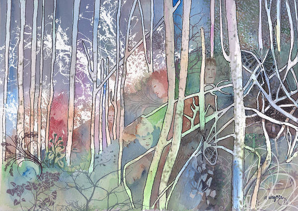 Forest Art Print featuring the mixed media Ten Faces In The Mystical Forest by Arline Wagner