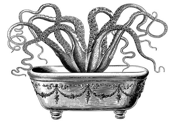 Octopus Art Print featuring the digital art Tentacles In The Tub by Eclectic at HeART