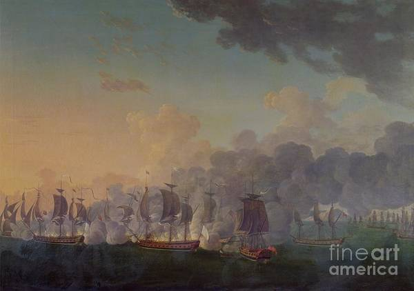 The Art Print featuring the painting The Battle Of Louisbourg On The 21st July 1781 by Auguste Rossel De Cercy