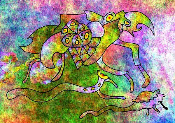 Bugs Color Texture Abstract Fun Art Print featuring the digital art The Bugs by Veronica Jackson