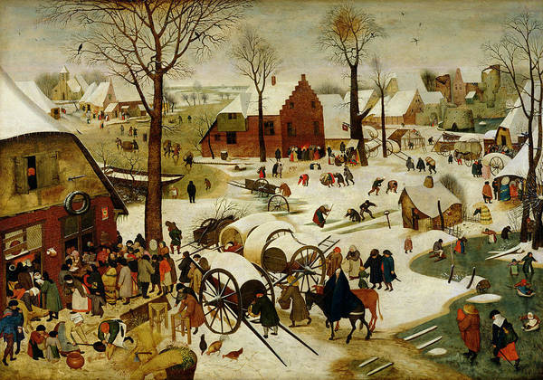 The Print featuring the painting The Census At Bethlehem by Pieter the Younger Brueghel