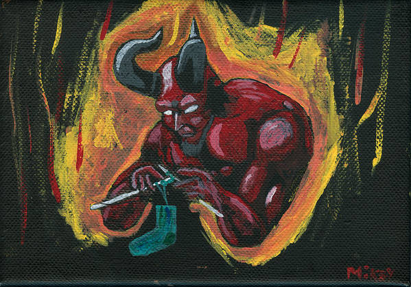 Devil Art Print featuring the painting The Devil's Day Of Down Time by Mikey Milliken