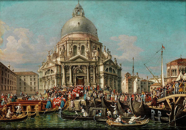 Canal Art Print featuring the painting The Feast Of The Madonna Della Salute In Venice by Francesco Zanin