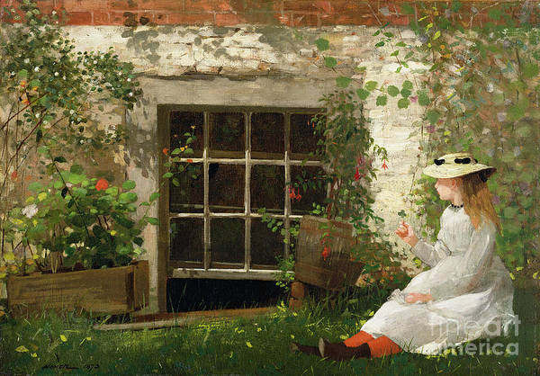 The Print featuring the painting The Four Leaf Clover by Winslow Homer