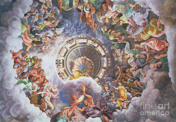 The Art Print featuring the painting The Gods Of Olympus by Giulio Romano