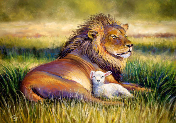 Lion And The Lamb Print featuring the pastel The Kingdom Of Heaven by Susan Jenkins