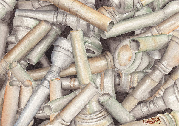 Brass Art Print featuring the painting The Mouthpiece Jumble Experiment by Ken Powers