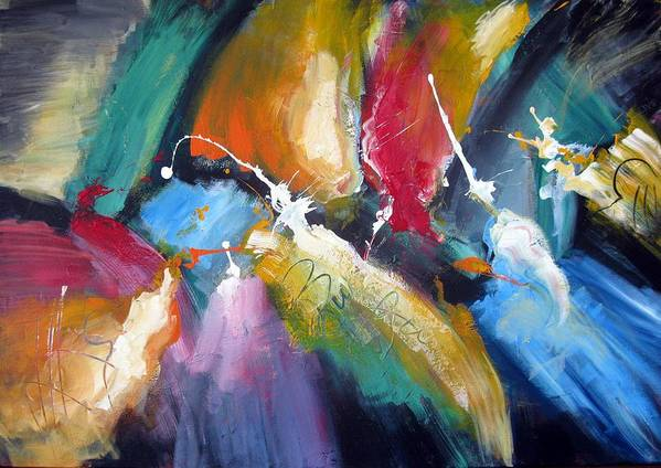 Abstract Colorfull Energetic Modern Contemporary Enlightening Art Print featuring the painting The Night Queen by Dan Bunea