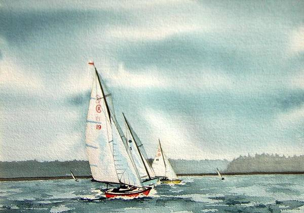 Sailing Art Print featuring the painting The Race by Gale Cochran-Smith