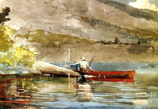 Landscape Art Print featuring the painting The Red Canoe by Pg Reproductions
