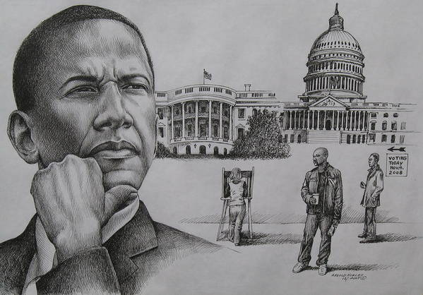 Barack Obama Art Print featuring the drawing The Transition by Arnold Hurley