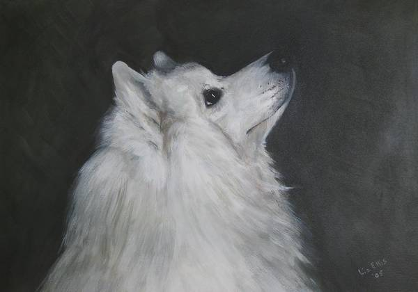 Samoyeds Art Print featuring the painting To Live With A White Dog by Elizabeth Ellis