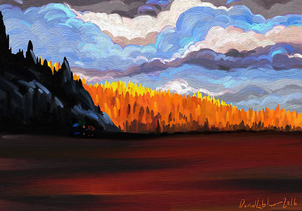 Sunset Art Print featuring the digital art Tree Fall Camping by David Loblaw
