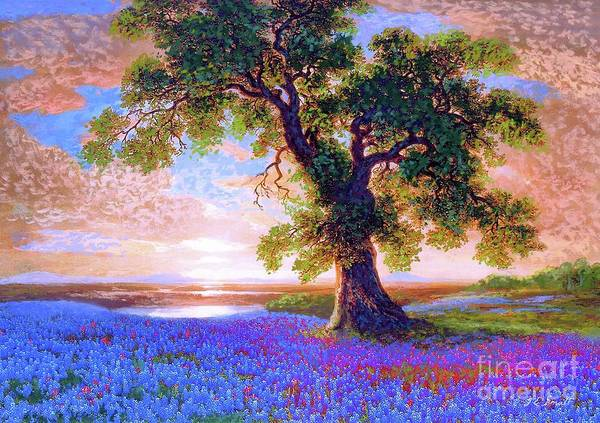 Bluebonnet Art Print featuring the painting Tree Of Tranquillity by Jane Small