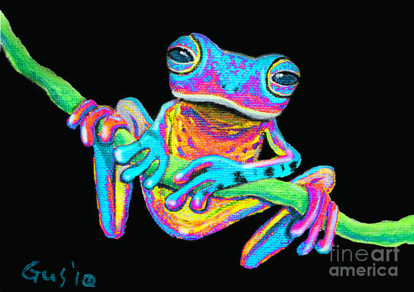 A Colorful Rainbow Frog On A Vine Art Print featuring the painting Tropical Rainbow Frog On A Vine by Nick Gustafson