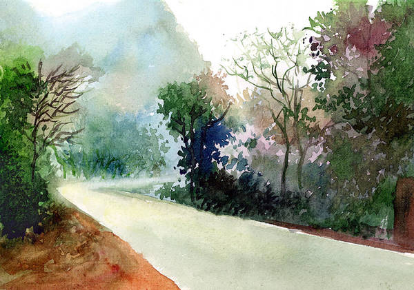 Landscape Water Color Nature Greenery Light Pathway Art Print featuring the painting Turn Right by Anil Nene