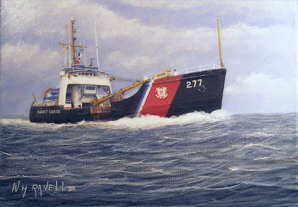 Seascape Art Print featuring the painting U. S. Coast Guard Buoy Tender by William H RaVell III