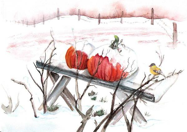 Snow Landscape Pumpkin Thanksgiving Bird Farm Autumn Art Print featuring the painting Unexpected Snow by Marsha Woods