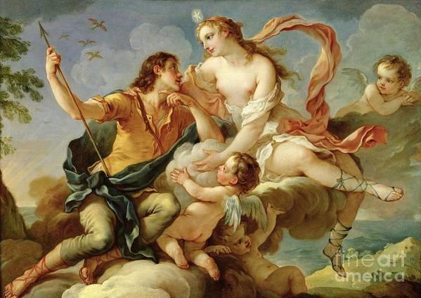 Venus Art Print featuring the painting Venus And Adonis by Charles Joseph Natoire