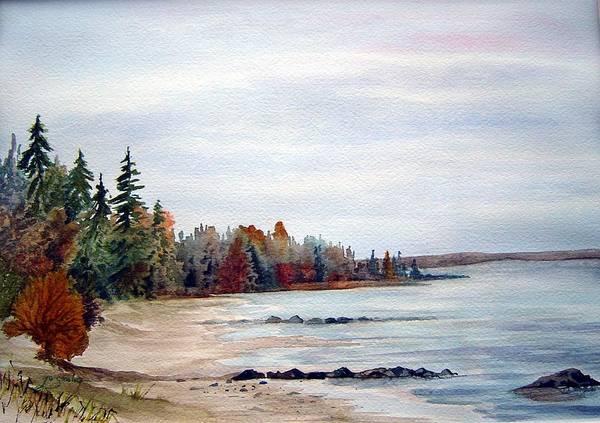 Victoria Beach Manitoba Shoreline Art Print featuring the painting Victoria Beach In Manitoba by Joanne Smoley