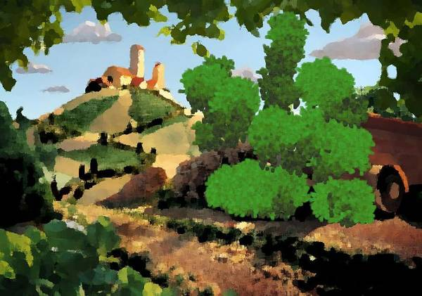 Village Old Road.trees.bushes.hill.littlt Tower.houses.farm.sky.clouds Art Print featuring the digital art Village. Tower On The Hill by Dr Loifer Vladimir