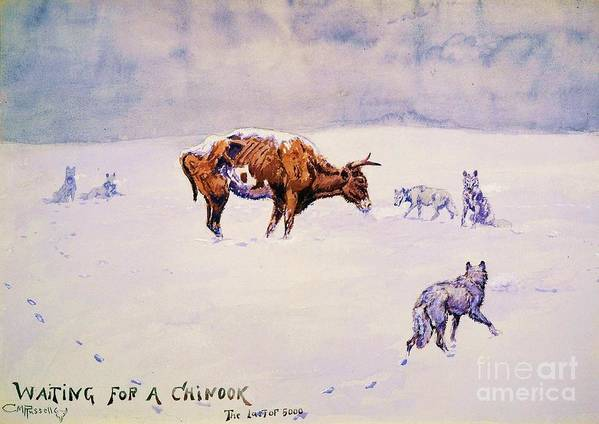 Reproduction Art Print featuring the painting Waiting For A Chinook by Pg Reproductions