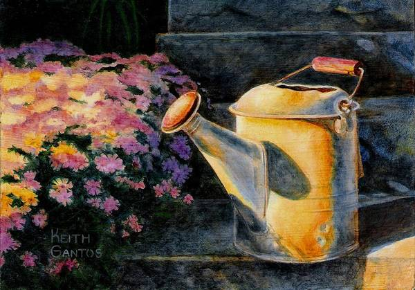 Watering Can Art Print featuring the painting Watering Time by Keith Gantos