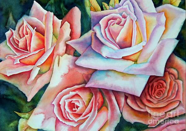 Floral Art Print featuring the painting Wedding Roses by Gail Zavala