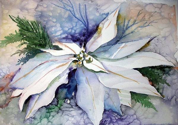 Floral Art Print featuring the painting White Poinsettia by Mindy Newman