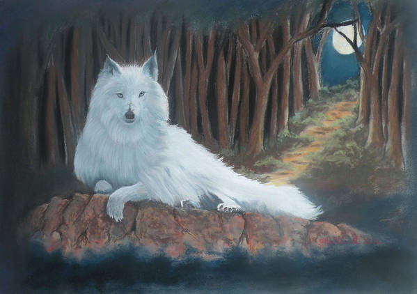 Wildlife Art Print featuring the pastel White Wolf by Charles Hubbard