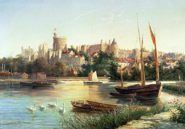 Windsor Art Print featuring the painting Windsor From The Thames  by Robert W Marshall