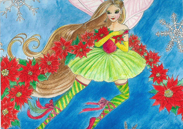 Fairy Brunette Christmas Poinsettia Snow Butterfly Ballerina Art Print featuring the painting Winterfest by Hilary England