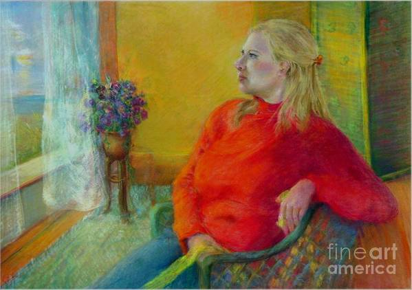 Portrait Art Print featuring the painting Woman In Red   Copyrighted by Kathleen Hoekstra
