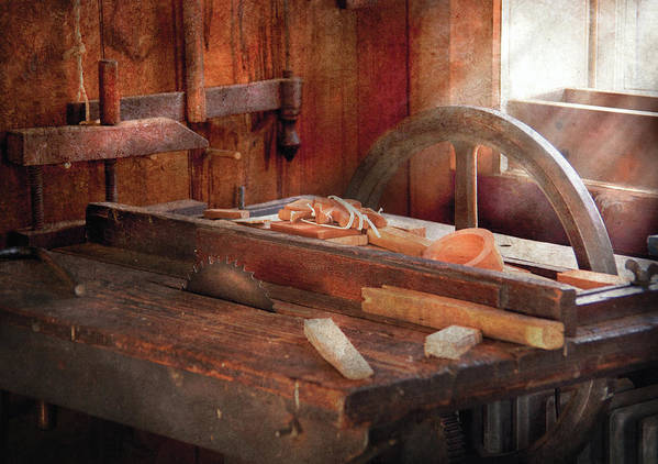 Savad Art Print featuring the photograph Woodworker - The Table Saw by Mike Savad