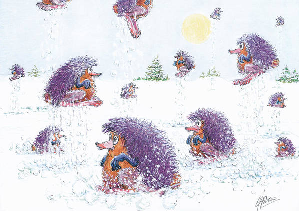 Creatures Art Print featuring the drawing Woolly Snow Hoppers by Charles Cater