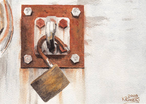 Rust Art Print featuring the painting Work Trailer Lock Number Two by Ken Powers