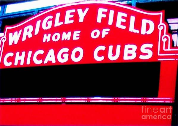 Photo Print featuring the photograph Wrigley Field Sign by Marsha Heiken