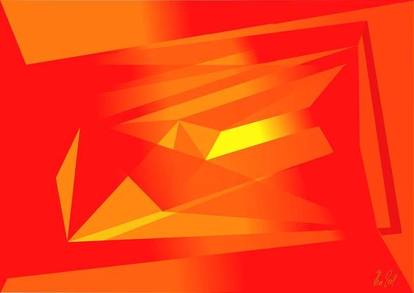 Red Art Print featuring the digital art Yellow In Red by Helmut Rottler