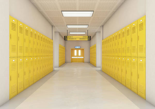 Locker Art Print featuring the digital art Yellow School Lockers Light by Allan Swart