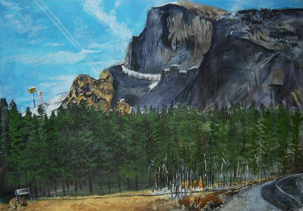 Half Dome Art Print featuring the painting Yosemite Political Statement by Travis Day