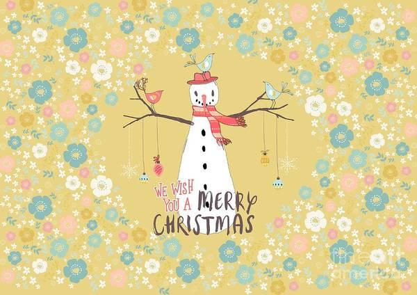 Snowman Art Print featuring the mixed media Flower Power Christmas Snowman 2 by Amanda Lakey