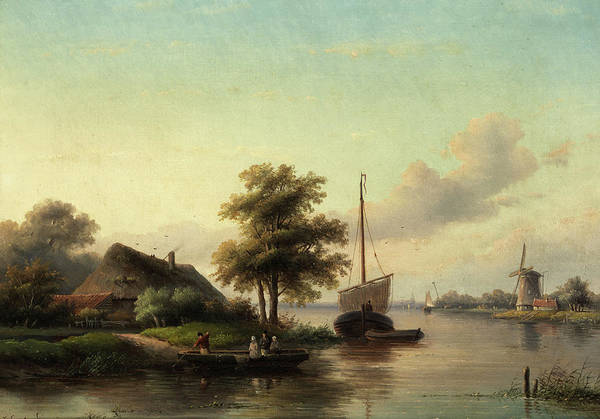 Jacob Jan Coenraad Spohler Art Print featuring the painting Dutch River Landscape by Jacob Jan Coenraad Spohler