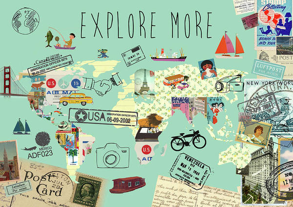 Exlore More World Map Art Print featuring the mixed media Exlore More World Map by Claudia Schoen