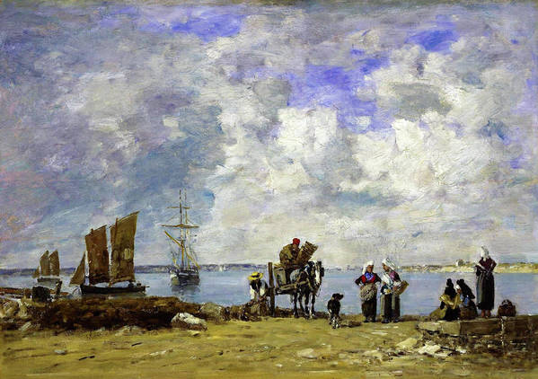 Eugene Louis Boudin Art Print featuring the painting Fishermens Wives At The Seaside - Digital Remastered Edition by Eugene Louis Boudin