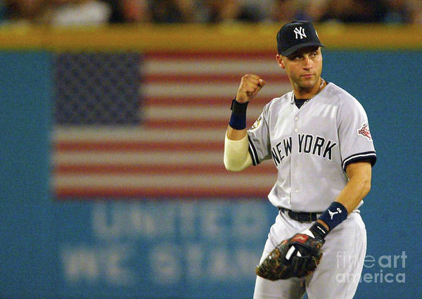 Fist Art Print featuring the photograph Jeter Pumps His Fist by Jed Jacobsohn