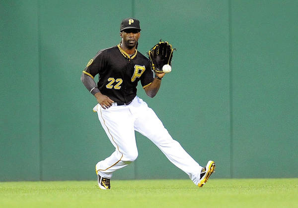 Ball Art Print featuring the photograph Andrew Mccutchen And Alfredo Simon by Joe Sargent