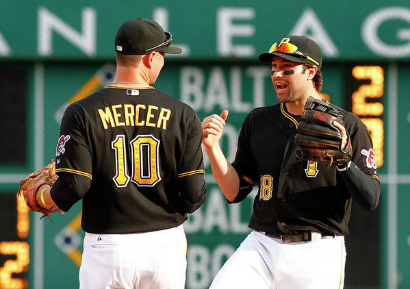Professional Sport Art Print featuring the photograph Jordy Mercer And Neil Walker by Justin K. Aller
