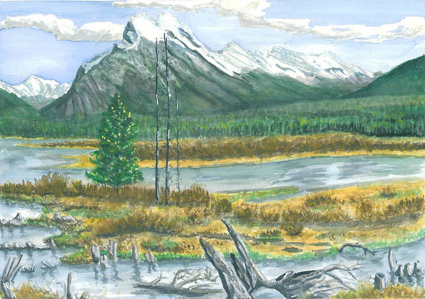 Mountains And Stream Art Print featuring the painting Mount Rundle Canadian Rockies by Dan Bozich
