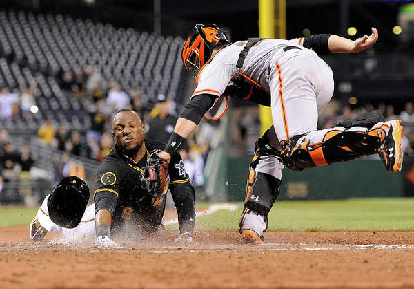 Ninth Inning Art Print featuring the photograph Starling Marte And Buster Posey by Joe Sargent