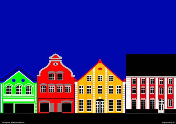 Atmosphere Art Print featuring the digital art Atmosphere Haderslev Denmark by Asbjorn Lonvig